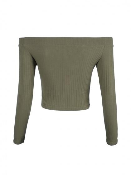 Army Green Off Shoulder Rib Long Sleeve Crop Top