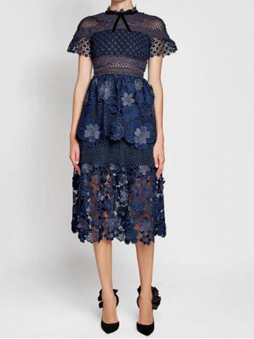 09a1ded7d7fdf Sale Navy Blue Mesh Panel 3D Floral Lace Double Layer Midi Dress