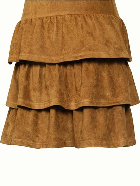 Brown Long Sleeve Layered Dress