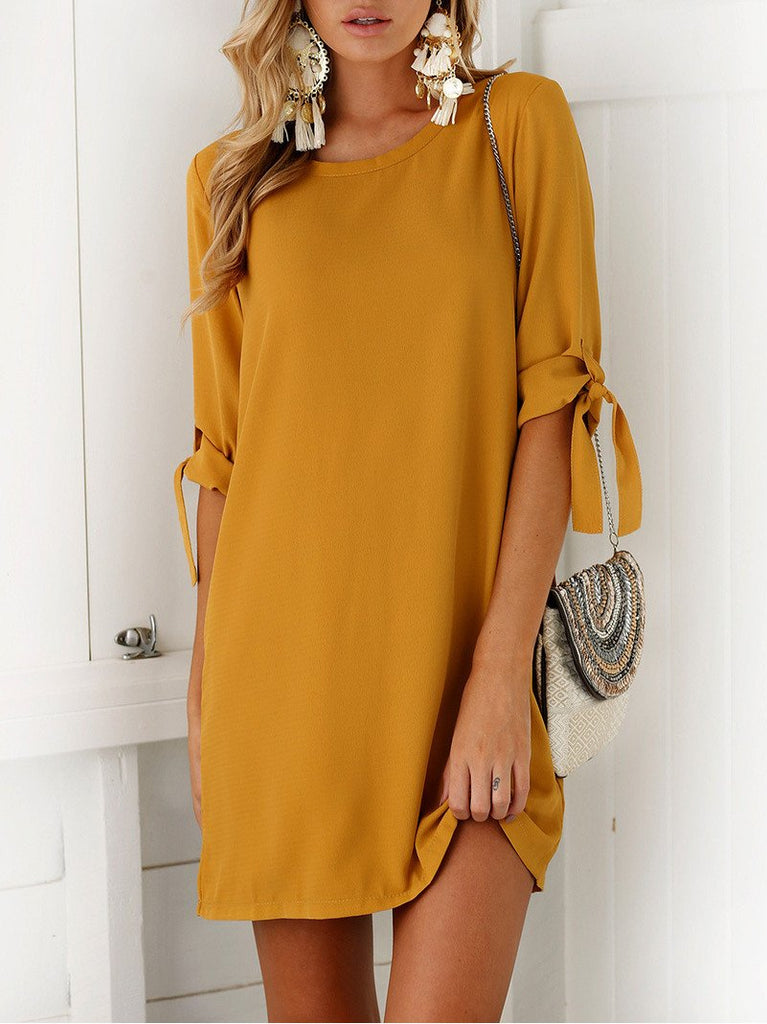 Yellow Tie Sleeve Shift Mini Dress
