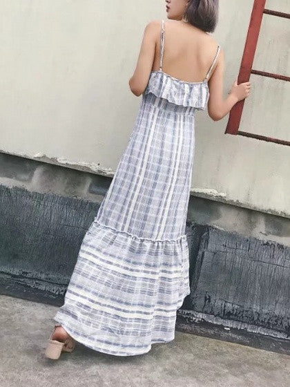 Blue Stripe Ruffle Detail Spaghetti Strap Dipped Hem Maxi Dress