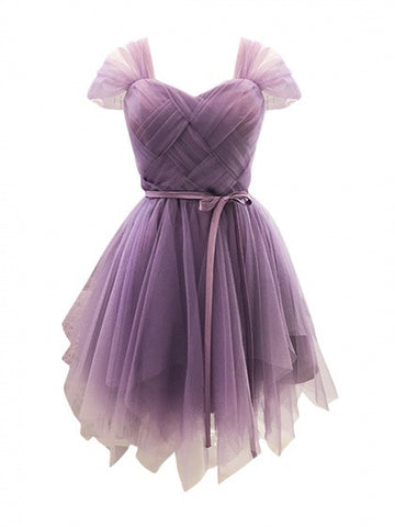 Purple Sweetheart Stretch Back Tulle Homecoming Dress