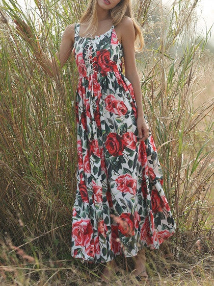White Sleeveless Floral Printed Lace Up Pleated Full Maxi Dress