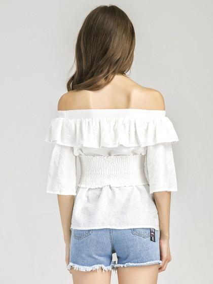 White Off Shoulder Ruffle Corset Belt Half Sleeve Top