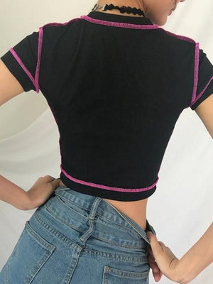 Black Ribbed Button Placket Front Crop Top