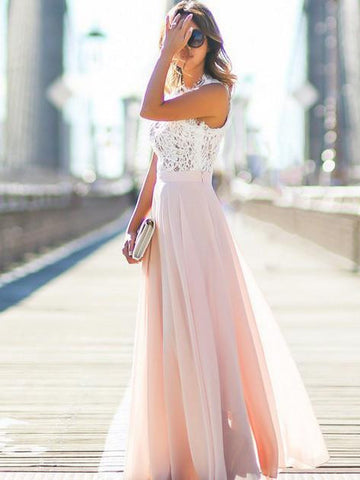 Pink Contrast Lace Top High Waist Sleeveless Maxi Dress