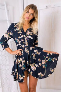 Black Floral Wrap V-neck Tie Waist Asymmetric Hem Dress