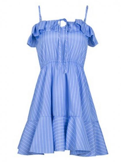 Blue Stripe Tie Front Ruffle Trim Chic Women Cami Mini Dress
