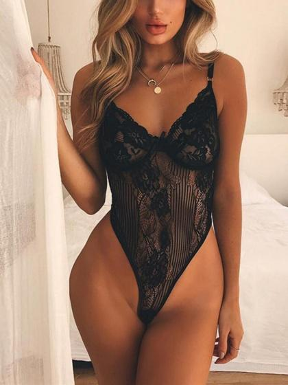 Black Sweetheart Neck Lunge Spaghetti Strap Floral Lace Bodysuit