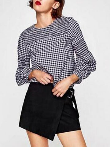 Blue Plaid Stretch Panel Long Sleeve Blouse