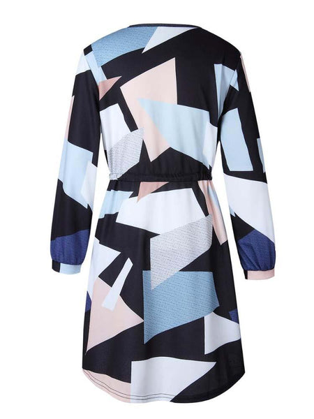 Navy Color Block V-neck Long Sleeve Tie Waist Dress