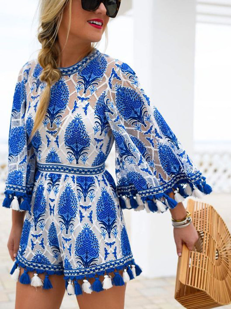 Blue Mock Neck Lace Embroidery Tribal Pattern Tassel Trim Romper Playsuit