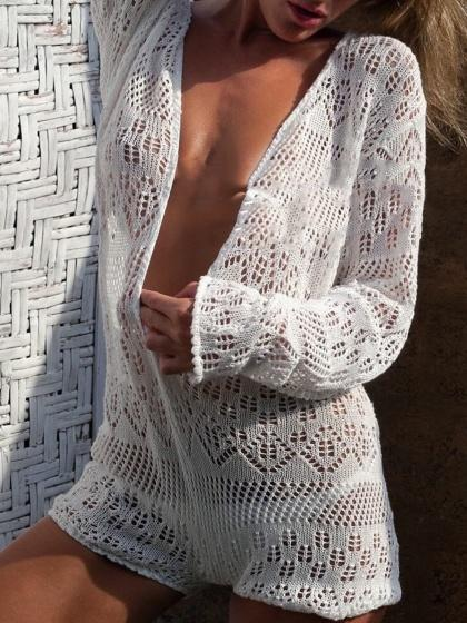 White Plunge Long Sleeve Women Lace Romper Playsuit