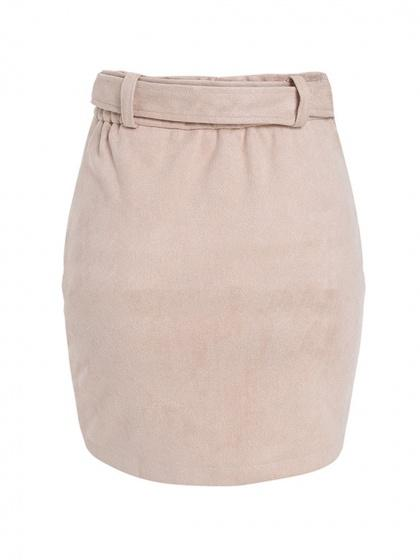Light Pink High Waist Asymmetric Hem Women Suede Mini Skirt