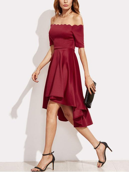 Red Off Shoulder Short Sleeve Dipped Hem Dress