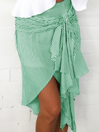 Green Stripe Knot Tie Front Asymmetric Hem Skirt