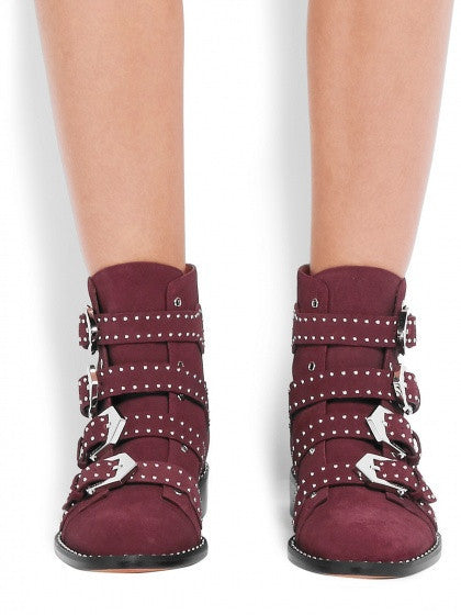 Burgundy Suede Studded Buckle Ankle Boots