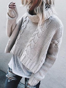 White High Neck Long Sleeve Chic Women Knit Sweater