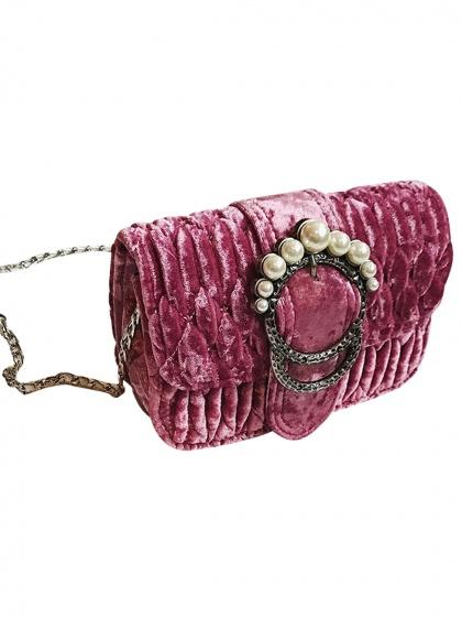Pink Velvet Quilted Pearl Embellished Chain Shoulder Bag