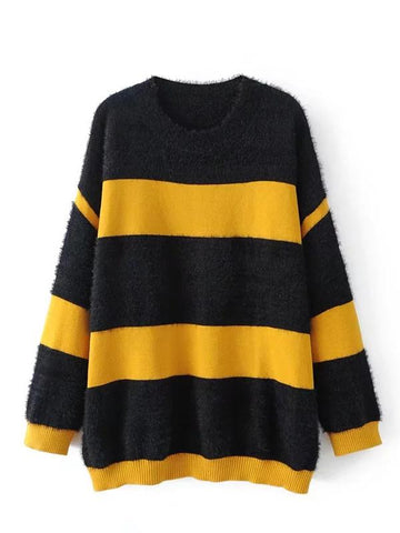 Black Stripe Long Sleeve Knit Sweater