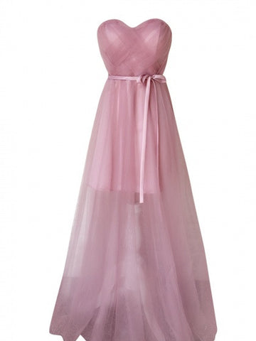Light Purple Sweetheart Bandeau Lace Up Back Tulle Maxi Prom Party Dress