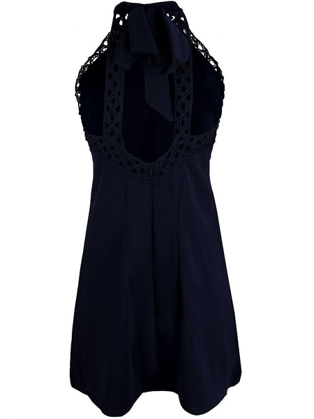 Black Halter Tie Neck Cut Away Shoulder Lace Trim A-line Dress
