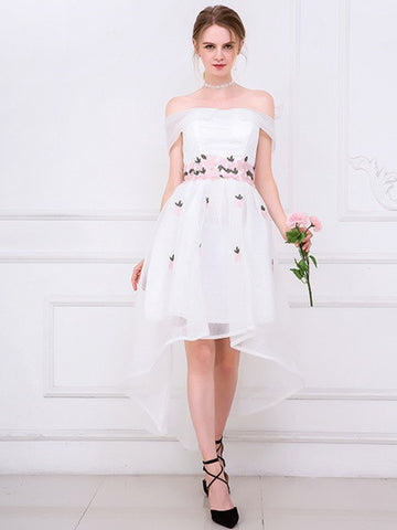 White Off Shoulder Embroidery Floral Dipped Hem Mesh Prom Party Dress