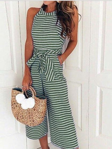 Green Stripe Cotton Tie Waist Pocket Detail Sleeveless Jumpsuit