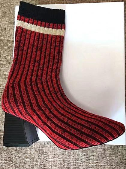 Red Stripe Cuff Sports Poll On Knitted Sock Boots