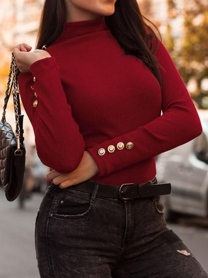 Burgundy Ribbed High Neck Long Sleeve Women Sweater