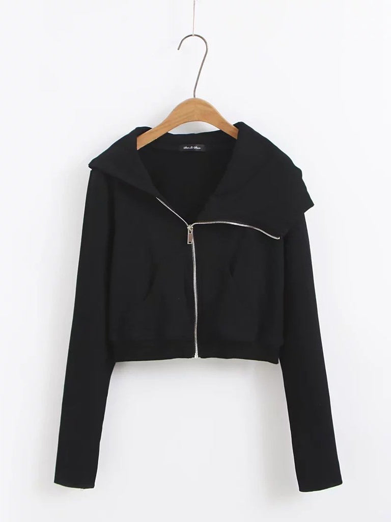 Black Long Sleeve Cropped Zip Up Hoodie