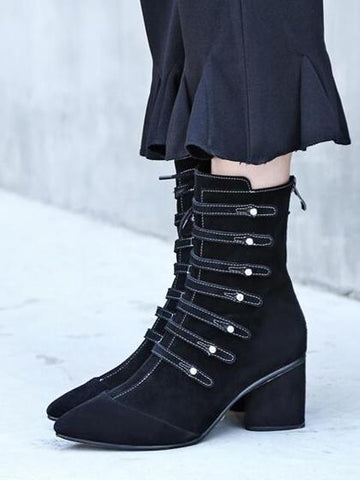 Black Suede Pointed Toe Strap Detail Lace Up Side Ankle Boots