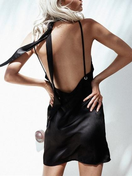 Black Satin Choker Tie Plunge Eyelet Open Back Cami Dress