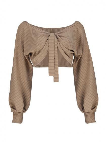 Khaki Two-way Tied Puff Sleeve Rib Crop Top