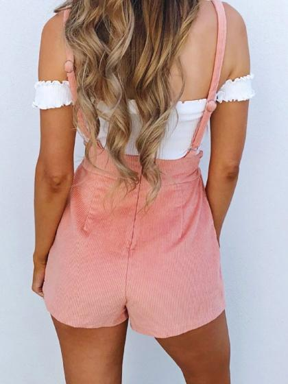 Pink High Waist Shoulder Strap Drawstring Detail Chic Women Overall