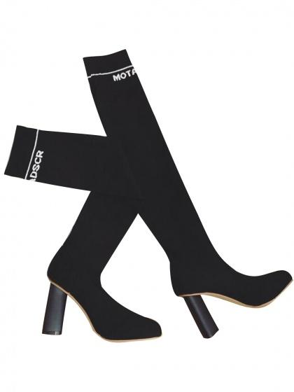 Black Letter Pattern Knitted Heeled Over The Knee Boots
