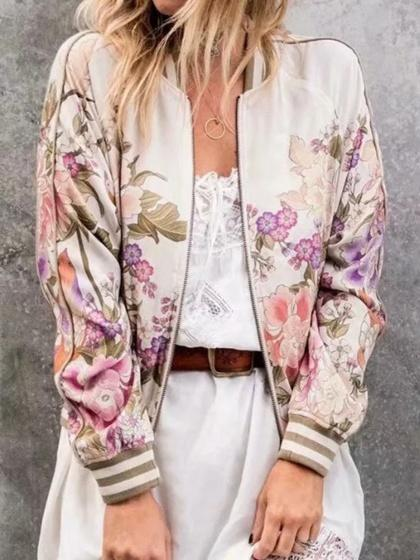 Beige Floral Print Long Sleeve Women Bomber Jacket