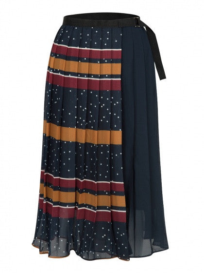 Yellow and Red Contrast Stripe High Waist Pleated Midi Skirt