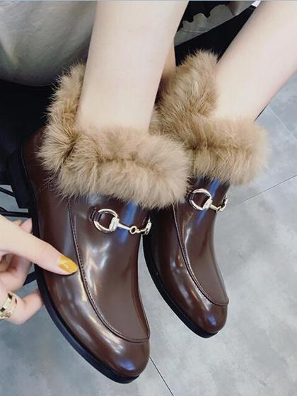 Brown Metal Chain Detail Faux Fur Trim Ankle Boots