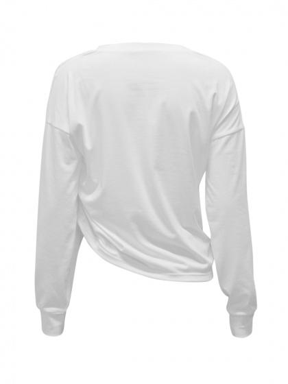 White Drawcord Detail Long Sleeve Cropped T-shirt