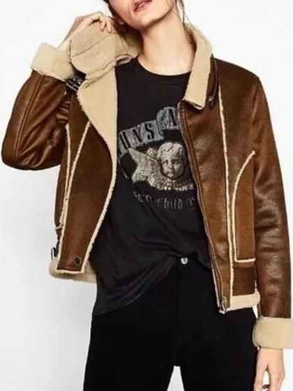 Brown Faux Shearling Biker Jacket