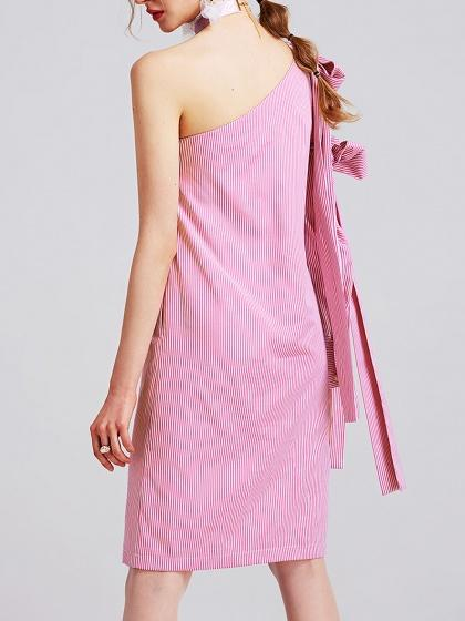 Pink Stripe One Shoulder Bow Detail Long Sleeve Shift Dress