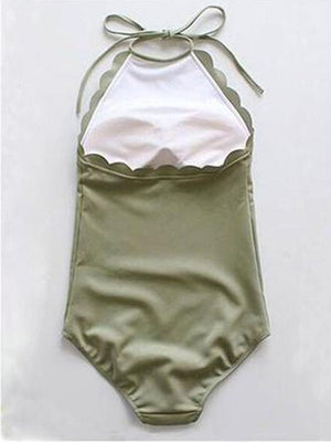 Army Green Halter Low Back Scallop Trim Swimsuit
