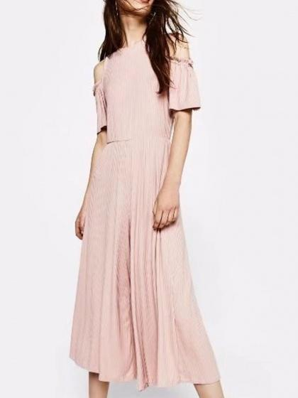 Pink Cold Shoulder Ribbed Jumpsuit