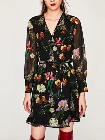 Polychrome Wrap V-neck Floral Tie Waist Long Sleeve Dress