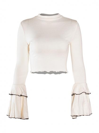 White High Neck Flared Sleeve Cropped T-shirt