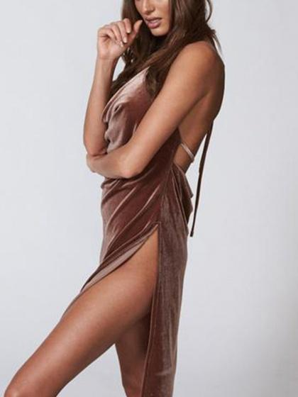 Brown Velvet Strapped Open Back Side Split Cami Dress