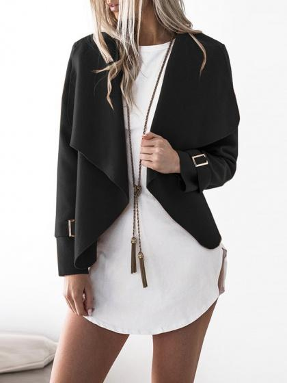 Black Wide Lapel Open Front Buckle Cuff Wool Blend Coat