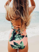 Pink Leaf Print Lace Up Back Swimsuit