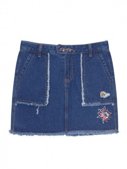 Blue Pocket Embroidery Raw Trim Denim Skirt